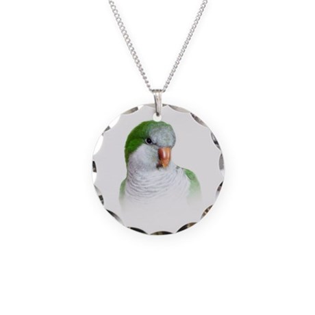 Green Quaker Parrot Necklace Circle Charm