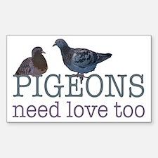 Pigeons need love Sticker (Rectangle)