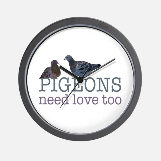 Pigeons need love Wall Clock