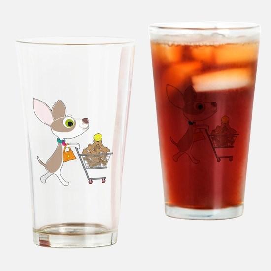 Chihuahua Shopping Drinking Glass