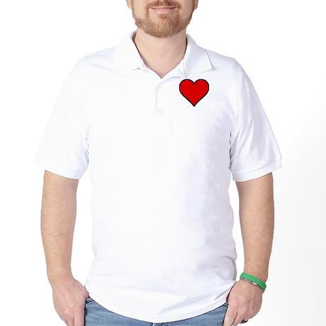 Plain Red Heart w/ black outline Golf Shirt