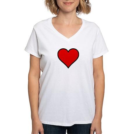 Plain Red Heart w/ black outline Women's V-Neck T-