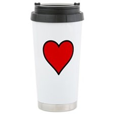 Plain Red Heart w/ black outline Travel Mug