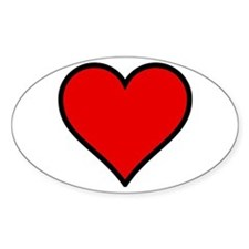 Plain Red Heart w/ black outline Decal