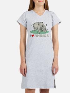 I Love Rhinos Women's Nightshirt