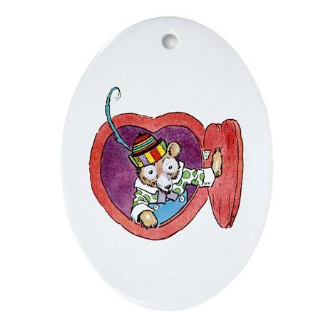 Teddy Bear Valentine Ornament (Oval)