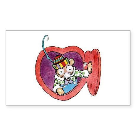 Teddy Bear Valentine Sticker (Rectangle)