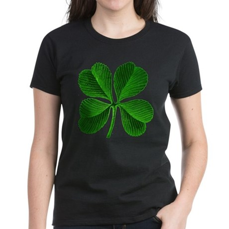 Lucky Charm 4-Leaf Clover Irish Women's Dark T-Shi