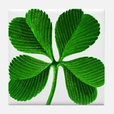 Lucky Charm 4-Leaf Clover Irish Tile Coaster