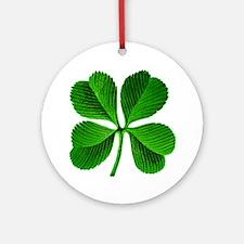 Lucky Charm 4-Leaf Clover Irish Ornament (Round)
