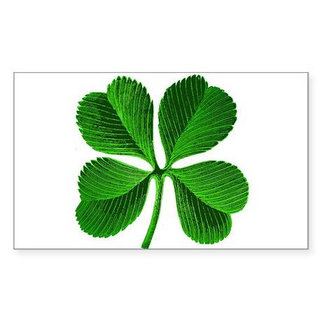 Lucky Charm 4-Leaf Clover Irish Sticker (Rectangle
