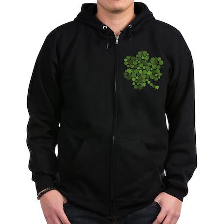 Lucky St. Patty's Day Shamrock Zip Hoodie (dark)