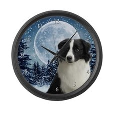 Border Collie Large Wall Clock