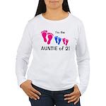 CUSTOM AUNTIE OF 2 - Women's Long Sleeve T-Shirt