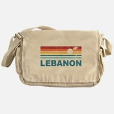 Retro Palm Tree Lebanon Messenger Bag