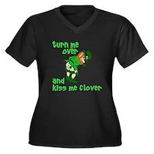 Kiss Me Clover Funny Irish Women's Plus Size V-Nec