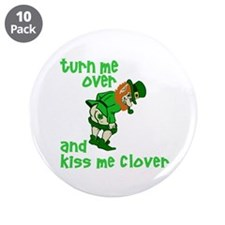 """Kiss Me Clover Funny Irish 3.5"""" Button (10 pack)"""