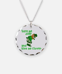 Kiss Me Clover Funny Irish Necklace