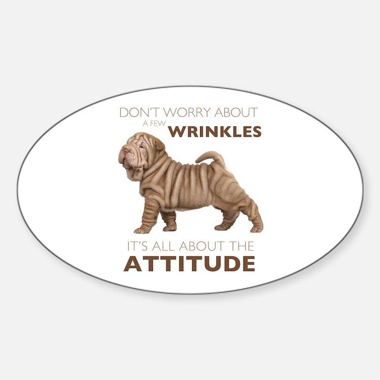 Shar Pei Attitude Sticker (Oval)
