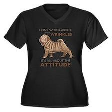 Shar Pei Attitude Women's Plus Size V-Neck Dark T-