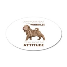 Shar Pei Attitude 22x14 Oval Wall Peel
