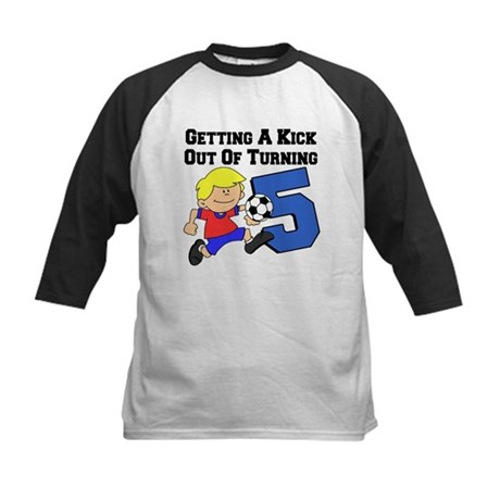 Soccer 5th Birthday Kids Baseball Jersey