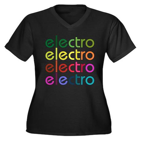 Electro Women's Plus Size V-Neck Dark T-Shirt