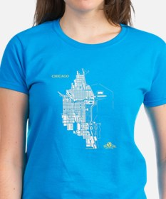 Chicago Women's T-Shirt White on Caribbean Blue
