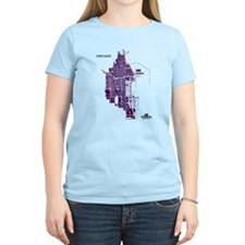 Chicago Women's T-Shirt Purple on Light Pink