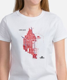 Chicago Tee Red on White
