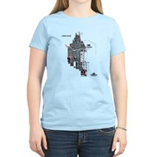 Chicago Women's T-Shirt Black on Light Blue