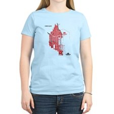 Chicago Women's T-Shirt Red on Light Blue
