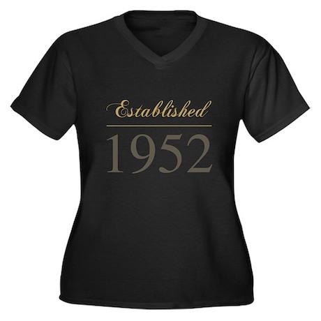 Established 1952 Women's Plus Size V-Neck Dark T-S