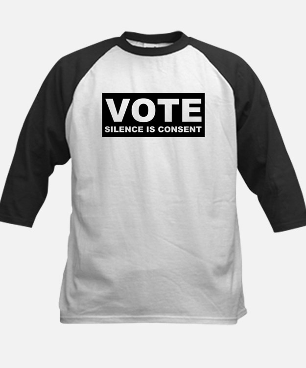 Vote Silence is consent Kids Baseball Jersey