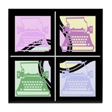 Abstract Pop Art Typewriter Tile Coaster