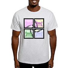 Abstract Pop Art Typewriter Ash Grey T-Shirt