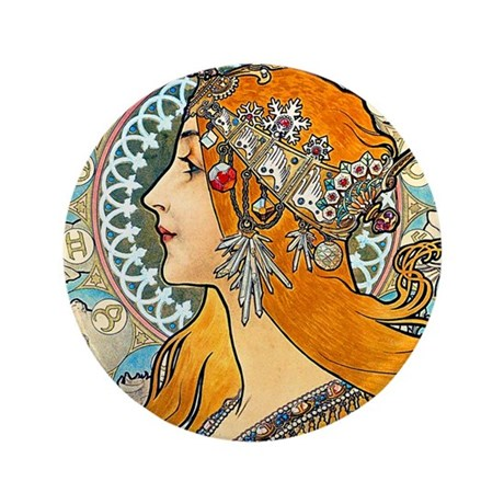"Mucha - La Plume 3.5"" Button"