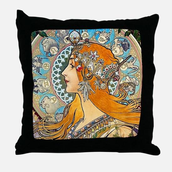 Mucha - La Plume Throw Pillow