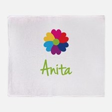 Anita Valentine Flower Throw Blanket