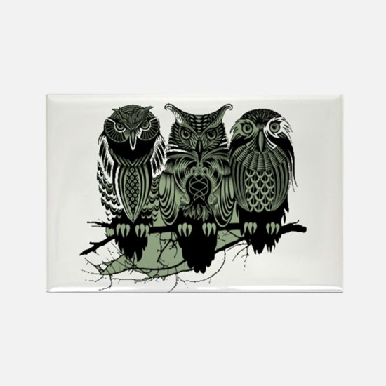 Three Owls Rectangle Magnet