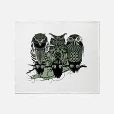 Three Owls Throw Blanket
