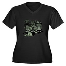 Three Owls Women's Plus Size V-Neck Dark T-Shirt