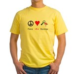 Peace Love Mycology Yellow T-Shirt