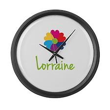 Lorraine Valentine Flower Large Wall Clock