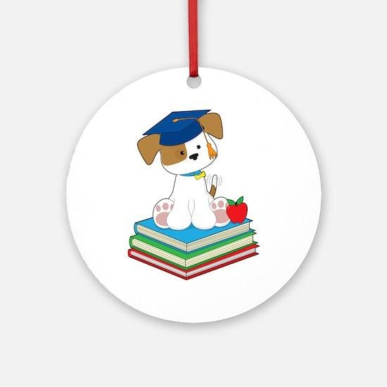 Cute Puppy Graduate Ornament (Round)