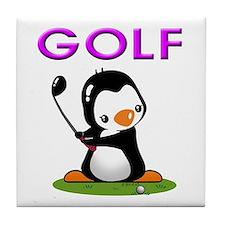 Golf Penguin (3) Tile Coaster