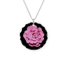 Pale Pink Rose Necklace Round