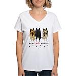 Nothin' Butt Belgians Women's V-Neck T-Shirt