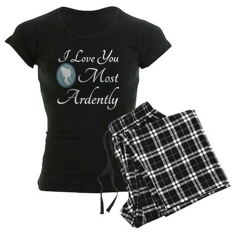 Austen Quote Love You Ardently Women's Dark Pajama