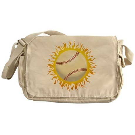 Flaming Baseball Messenger Bag